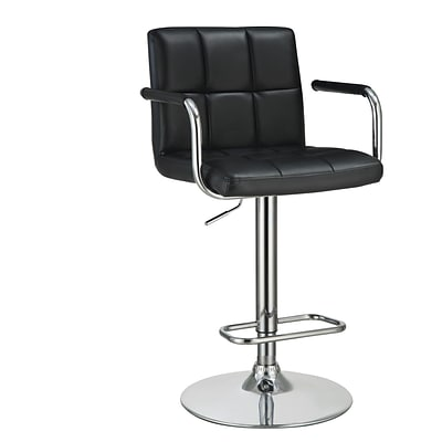 Coaster® Leather Bar Stool With Adjustable Seat and Foot Rest, Black