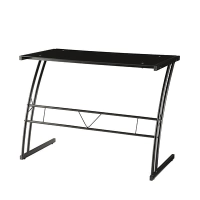 Coaster® Metal Writing Desk With Tempered Glass Top; Black