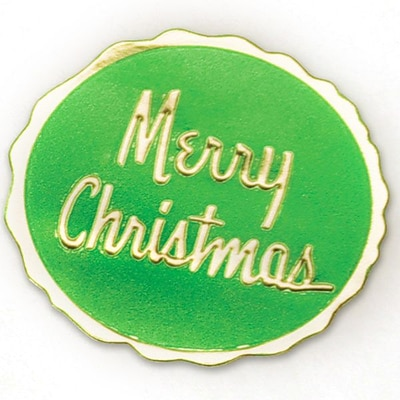 Shamrock Round Seal, Green/Gold, Merry Christmas, 250 seals/roll