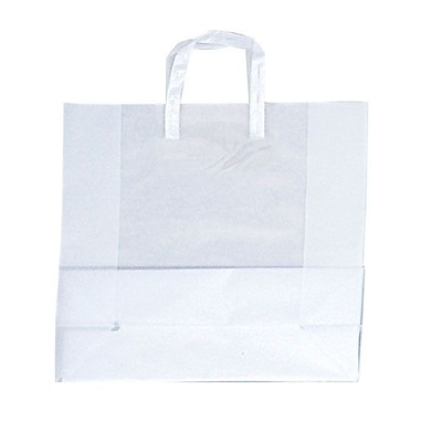 Shamrock Clear Shopping Bag, Tri-fold Handle with Cardboard Bottom, 17X7X18X7, 250/case pack