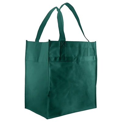 Shamrock Non-Woven Econo Grocery Tote, Dark Green, 12X8X13, 18 Handle, 100/case pack