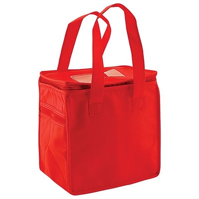 Shamrock Non-Woven Thermo Lunch Tote, Red, 8X6X8.5, 50/case pack