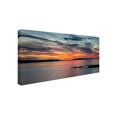 Trademark Pierre Leclerc Sunset Pier Gallery-Wrapped Canvas Art, 16 x 32