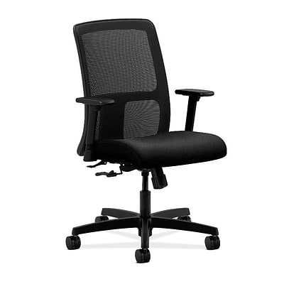 HON® Ignition® Mesh Low-Back Office/Computer Chair, Adjustable Arms, Confetti Black Fabric