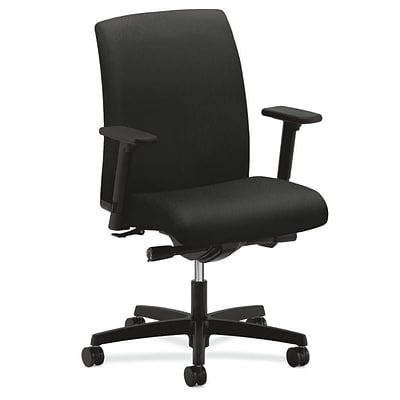 HON® Ignition® Low-Back Office/Computer Chair, Adjustable Arms, Synchro-Tilt, Tectonic Black Fabric