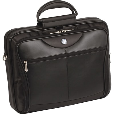 HP® Evolution Executive Ultra Leather/Nylon Portable Case For 14 Notebooks; Black