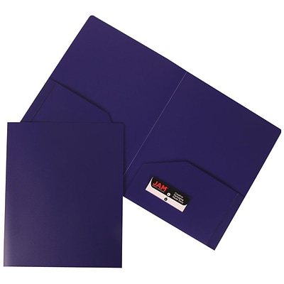 JAM Paper® Plastic Heavy Duty Two Pocket Folders, Purple, 6/pack (383HPUA)