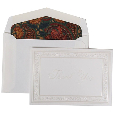 JAM Paper® Thank You Cards Set, Pearl Acanthus with Blue Paisley Lined Envelope, 104 Note Cards with 100 Envelopes (52691522BP)