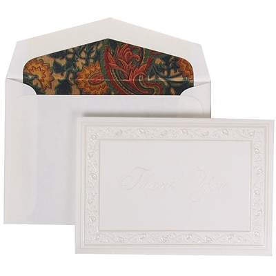 JAM Paper® Thank You Cards Set, Pearl Lily with Blue Paisley Lined Envelope, 104 Note Cards with 100 Envelopes (52691922BP)