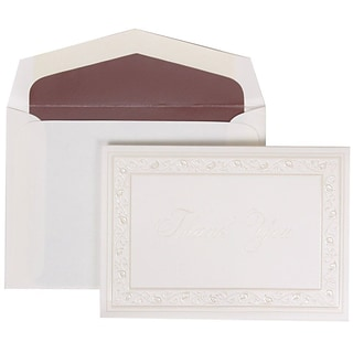 JAM Paper® Thank You Cards Set, Pearl Lily with Mauve, 104 Note Cards with 100 Envelopes (52691922MA