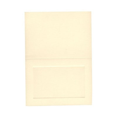 JAM Paper® Blank Foldover Cards, 4bar / A1 size, 3 1/2 x 4 7/8, Ivory Linen with Panel, 500/box (309878B)