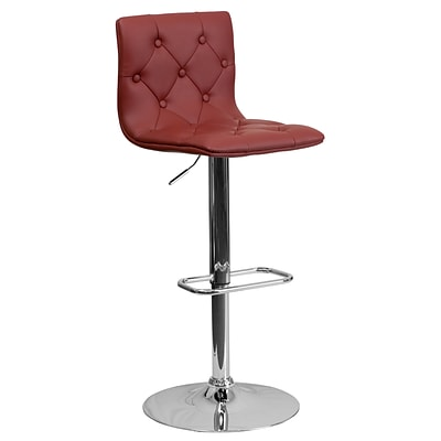 Flash Furniture Adjustable-Height Contemporary Tufted Vinyl Barstool, Burgundy w/Chrome Base