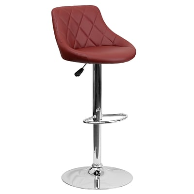Flash Furniture Contemporary Vinyl Bucket Seat Adjustable Height Barstool, Burgundy w/Chrome Base