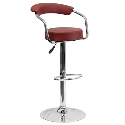 Flash Furniture Adjustable-Height Contemporary Vinyl Barstool, Burgundy w/Chrome Arms and Base