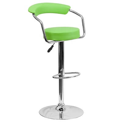 Flash Furniture Contemporary Vinyl Adjustable Height Barstool, Green w/Chrome Arms and Base