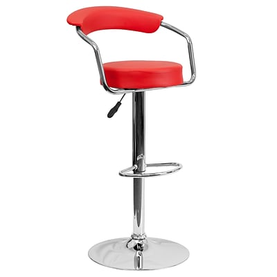 Flash Furniture Adjustable-Height Contemporary Vinyl Barstool, Red w/Chrome Arms and Base