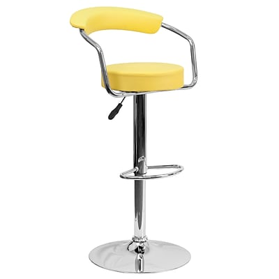 Flash Furniture Adjustable-Height Contemporary Yellow Vinyl Barstool w/Arms and Chrome Base