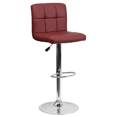Flash Furniture Adjustable-Height Contemporary Quilted Vinyl Barstool, Burgundy w/Chrome Base
