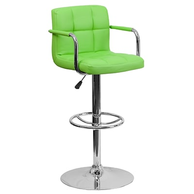 Flash Furniture 33.25 Contemporary Green Quilted Vinyl Adj Height Barstool w/Arms, Chrome Base, 2bx