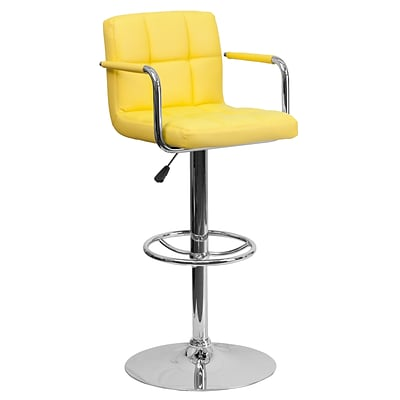Flash Furniture 33.25 Contemporary Yellow Quilted Adj Height Barstool w/Arms, Chrome Base, 2bx
