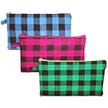 Inkology Plaid Puffy Pencil Pouch Colors