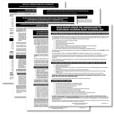 ComplyRight™ Massachusetts Temporary Workers Right to Know Law Poster Bundle, Multi-Lingual
