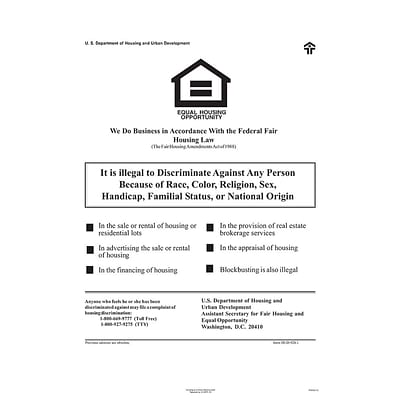 ComplyRight™ Federal Fair HUD Equal Housing Opportunity Poster (E8112)