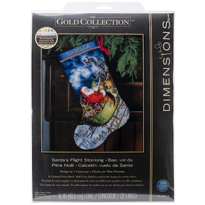 Dimensions 16 L Counted Cross Stitch Santa S Flight Stocking