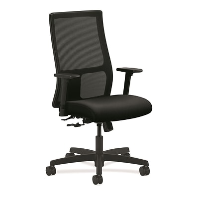 HON® Ignition® Mesh Mid-Back Office/Computer Chair, Adjustable Arms, Confetti Black Fabric