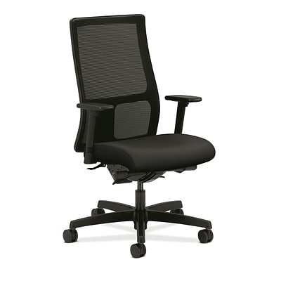 HON® Ignition®  Knit Mesh Mid-Back Office/Computer Chair, Arms, Black (HONIW108UR10)