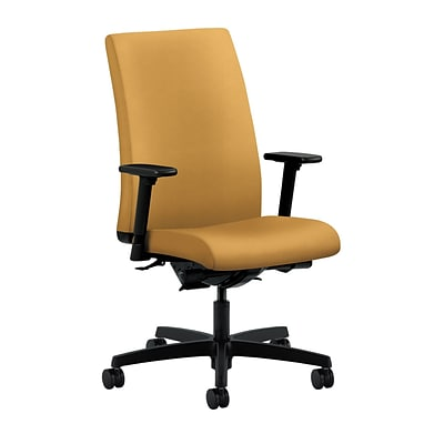 HON® Ignition® Mid-Back Office/Computer Chair, Adjustable Arms, Inertia Mustard Fabric