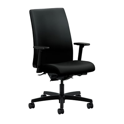 HON® Ignition® Mid-Back Office/Computer Chair, Adjustable Arms, Contourett Polyurethane Black Fabric