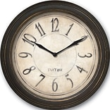FirsTime 25516 Distressed Plastic Wall Clock, Beige Face