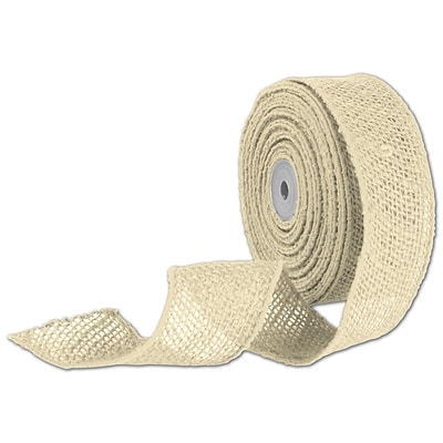 Bags & Bows® 2 x 10 Yds. Wired Burlap Ribbon, Ivory, 1/RL
