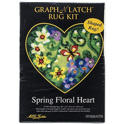 M C G Textiles Latch Hook Kit, 30 x 27, Spring Floral Heart