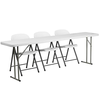 Flash Furniture RB18962 8 Plastic Folding Training Table Set, White