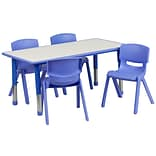 Flash Furniture YU06034RECTBLBL 23.63 x 47.25 Plastic Rectangle Activity Table, Blue