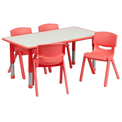 Flash Furniture YU06034RECTBLRD 23.63 x 47.25 Plastic Rectangle Activity Table, Red