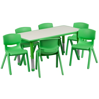 Flash Furniture YU06036RECTBLGN 23.63 x 47.25 Plastic Rectangle Activity Table, Green