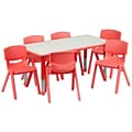 Flash Furniture YU06036RECTBLRD 23.63 x 47.25 Plastic Rectangle Activity Table, Red