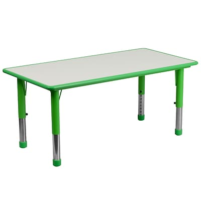 Flash Furniture YU060RECTBLGN 23.63 x 47.25 Plastic Rectangle Activity Table, Green