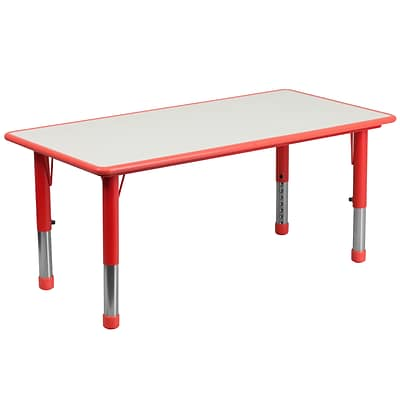 Flash Furniture YU060RECTBLRD 23.63 x 47.25 Plastic Rectangle Activity Table, Red