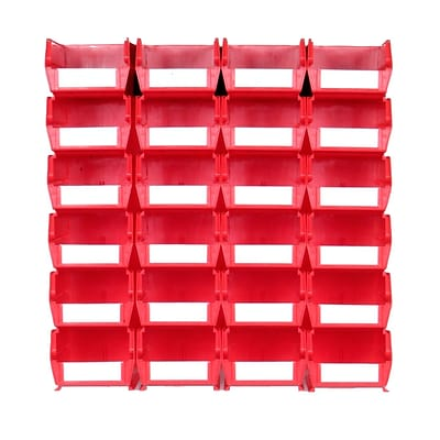 LocBin 3-220RWS Wall Storage Medium Bins, Red