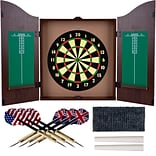 Trademark Realistic Walnut Finish Dartboard Cabinet Set