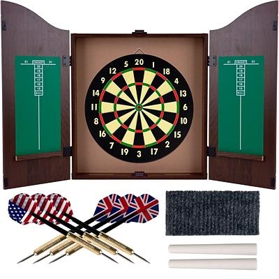 Trademark Realistic Walnut Finish Dartboard Cabinet Set   Quill.com