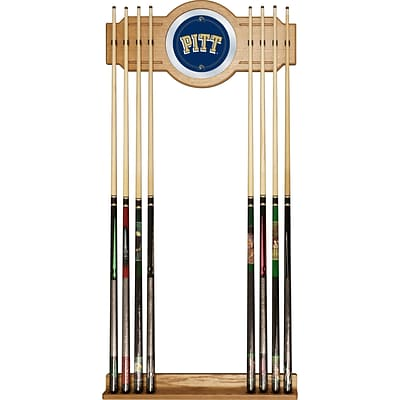 Trademark 30 x 13 Billiard Cue Rack With Mirror, University of Pittsburgh