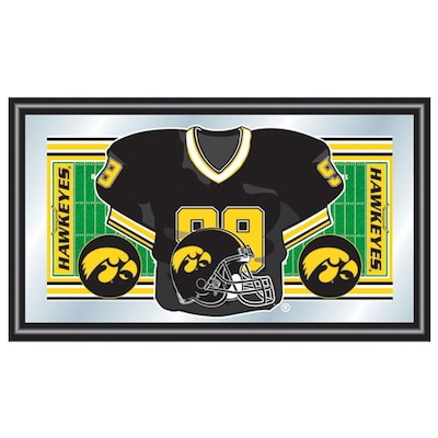 "Trademark NCAA 15"" x 26"" x 3/4"" Wooden Football Jersey Framed Mirror, University of Iowa"