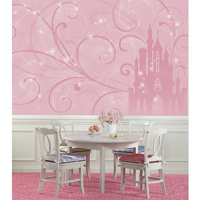 RoomMates Disney Princess Scroll Castle Chair Rail Prepasted Wallpaper Mural