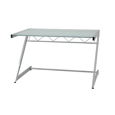 Euro Style™ Z Deluxe Glass Medium Desk With Shelf; Frosted/Aluminum