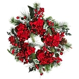 4661 22 Hydrangea Holiday Wreath; Red